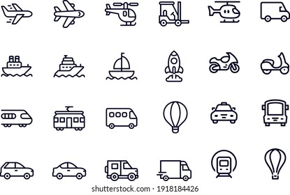 Mode of Transport - outline icons, vector design