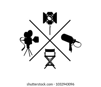Model Classic Movie Film Camera and the Director's Chair with Loudspeaker or Mic Shooting Lamp for Making Film Symbol Icon Logo Vector