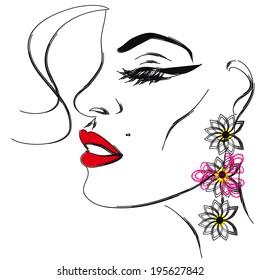 Model in earrings, sketch