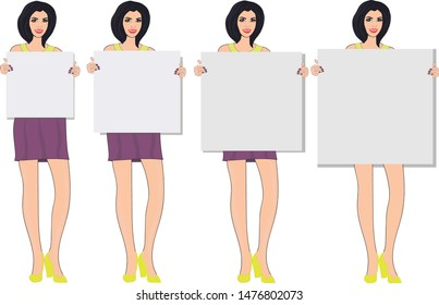 Model girl with dark hair in a yellow sweater, in shoes and in a purple skirt holds a pallet, canvas, drawing paper of different sizes. For business, showing, example, presentation, demonstration.