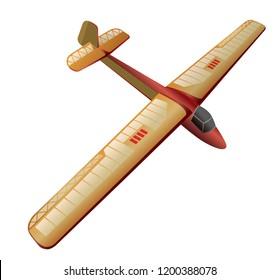 Model glider, flying airplane. Beautiful subtle airplane. Balsa wood wings, model hobby. Master vector illustration