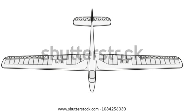 Model Glider Ground Plan Beautiful Subtle Stock Vector