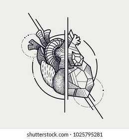 model of the heart. style of engraving and polygonal. sketch for printing on clothes. abstract vector art