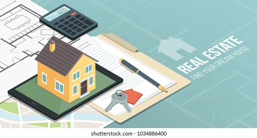 Model house on a digital tablet, home project, map and contract: real estate, home insurance and loan concept