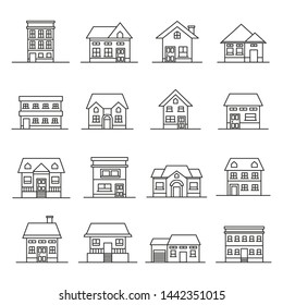 Model of houses and cottages. Collection of outlined icons. Vector set.
