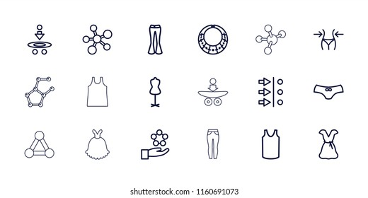 Model icon. collection of 18 model outline icons such as slim, mannequin, female underwear, singlet, woman pants, dress, atom move. editable model icons for web and mobile.