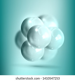 Model Molecular Structure Of Nanotechnology Vector. Glossy Reflective Mockup Of Spheres Nanotechnology Chemical Element Connected Bubbles. Science Of Future Realistic 3d Illustration