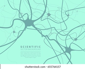 A model of neural system.Scientific vector background in flat style for projects on technology,medicine,chemistry,science and education.