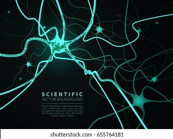 A model of neural system.Scientific vector background for projects on technology,medicine,chemistry,science and education.