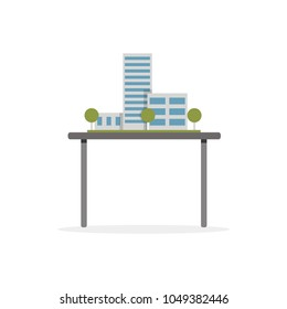Model of new building, modern architecture vector Illustration on a white background