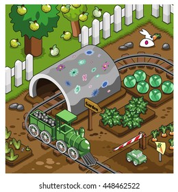 Model railroad on a track layout with tunnel in a vegetable patch next to an apple garden (isometric view)