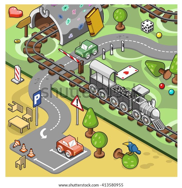 Model Railroad Track On Carpet Tunnel Stock Vector (Royalty