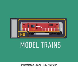 Model trains flat design element with red scale model diesel locomotive in original carboard box. Ideal for hobby and modelling related graphic, web and motion design