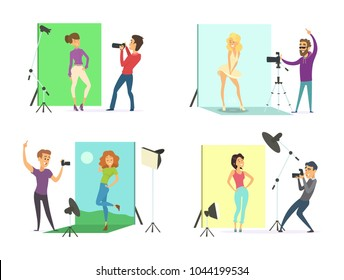Models male and female posing for photos. Photographers at works in the photo studio. Camera professional equipment for photo, model fashion, vector illustration
