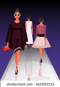 Models showing new clothes trendy outfit. Beautiful women walking on catwalk. Fashion trends review show. Podium under spotlights. Vector illustration