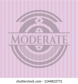 Moderate badge with pink background