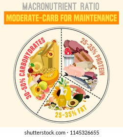 Moderate carbohydrate diet diagram. Macronutrient ratio poster. Health maintenance concept. Colourful vector illustration isolated on a light beige background. Healthy eating concept.