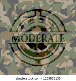 Moderate written on a camouflage texture
