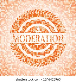 Moderation abstract emblem, orange mosaic background