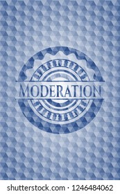 Moderation blue polygonal badge.