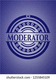 Moderator badge with denim background