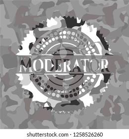 Moderator on grey camo texture