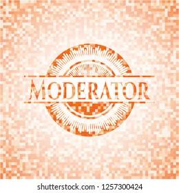 Moderator orange tile background illustration. Square geometric mosaic seamless pattern with emblem inside.