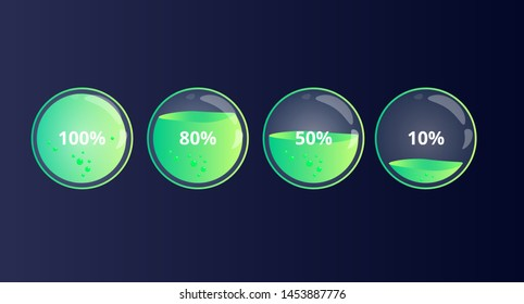 Modern 100 80 50 10 percent loading status indicator. Glass liquid level of power in bottle. Glossy style of loading bar in electronic device. Colorful discharged and fully charged battery.