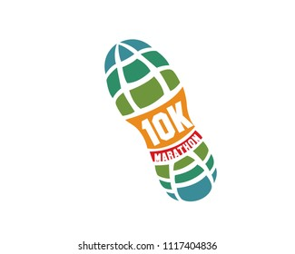 Modern 10K Marathon Running Competition Logo Badge Illustration In White Isolated Background
