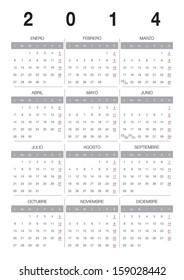 Modern 2014 vector calendar Spanish