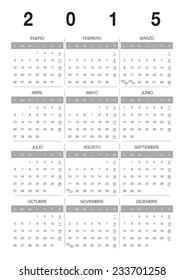 Modern 2015 vector calendar Spanish