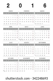 Modern 2016 vector calendar Spanish