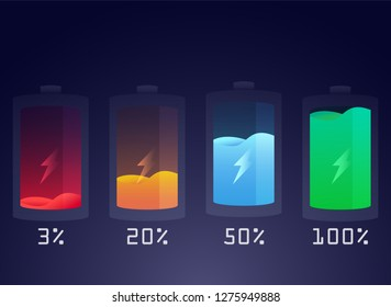 Modern 3 20 50 100 percent battery charging status indicator.Glass liquid level of power in bottle.Glossy style of battery remain in electronic device.Colorful discharged and fully charged battery.