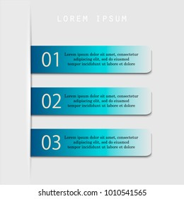 Modern 3 steps process. Simple and editable abstract design element. EPS10.