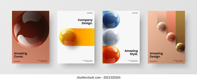 Modern 3D balls company identity layout composition. Fresh leaflet design vector illustration set.