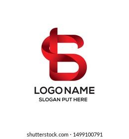Modern 3D BS Or SB Letter logo design template
