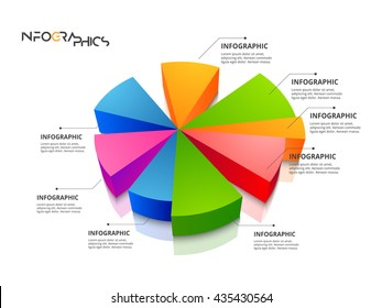 Modern 3d Chart  infographics in a pie chart for web, banners, mobile applications, layouts etc. Vector eps10 illustration