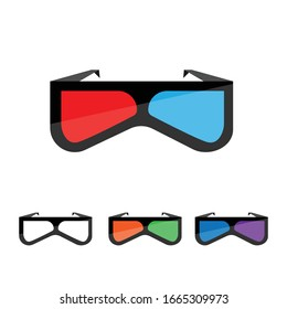Modern 3D cinema glasses icon for your design. Isolated Vector illustration.