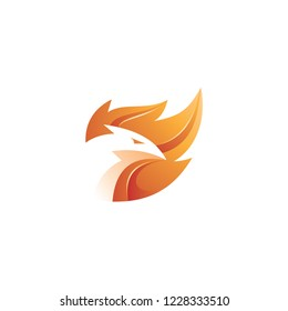 Modern 3D flame, fire and bird phoenix logo