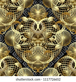 Modern 3d floral greek vector seamless pattern. Geometric fractals background. Gold baroque damask style flowers, scroll leaves, mandalas. Vintage ornament with geometric circles, shapes and elements
