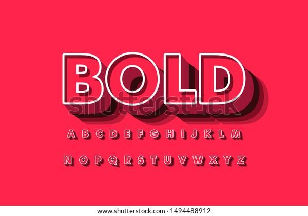 Modern 3D font and alphabet for poster, sticker vector