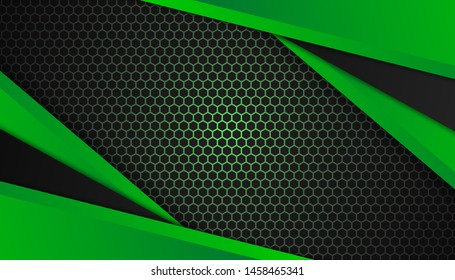 Modern 3d geometry shapes black lines with green borders on dark background. Luxurious bright green lines with metallic effect. Vector Illustration