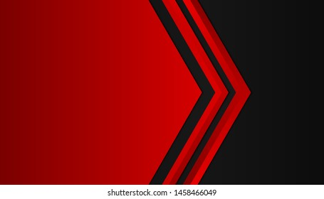 Modern 3d geometry shapes black lines with red borders on dark background. Luxurious bright red lines with metallic effect. Vector Illustration