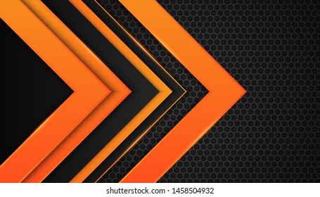 Modern 3d geometry shapes black lines with orange borders on dark background. Luxurious bright orange lines with metallic effect. Vector Illustration