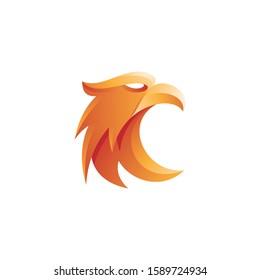 Modern 3D Gradient Style of Eagle Falcon Hawk Head Mascot Logo Icon