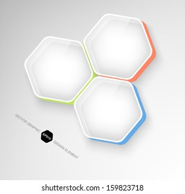 Modern 3d hexagonal infographic boxes / banners Plastic glossy badges. Can be used for website and promotion. Clean design layout template in trendy pale shades. Honeycomb, cellular design.