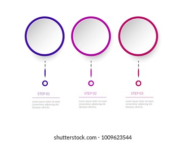 Modern 3 D Infographic Template 3 Steps Stock Vector Royalty Free