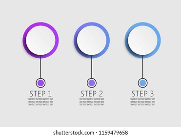 Modern 3D infographic template with 3 steps. Business circle template with options for brochure, diagram, workflow, timeline, web design.