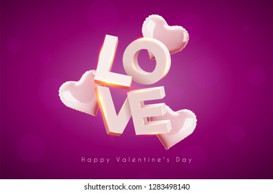 Modern 3d letters. The word love. Pink heart-shaped balloon. Vector holiday illustration on a transparent background. Happy Valentine's Day