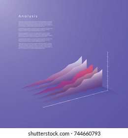 Modern 3d line graph vector element in isometric style with soft color gradients. Data visualization concept for analysis, report, presentation, infographics. Eps10 vector illustration.